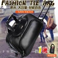 20 inch male black trolley big capacity commercial boarding waterproof luggage bag