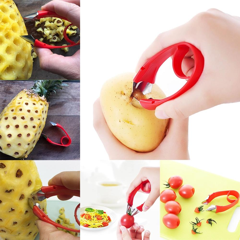 Home Pineapple Eye Fruit Peeler Stainless Steel Seed Remover Cutting Clip SI