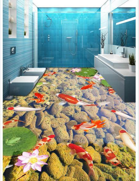 Papier peint photo personnalisé 3d revêtement de sol papier peint 3 d carpe lotus dans la salle de bain papier peint PVC revêtement de sol auto-adhérence