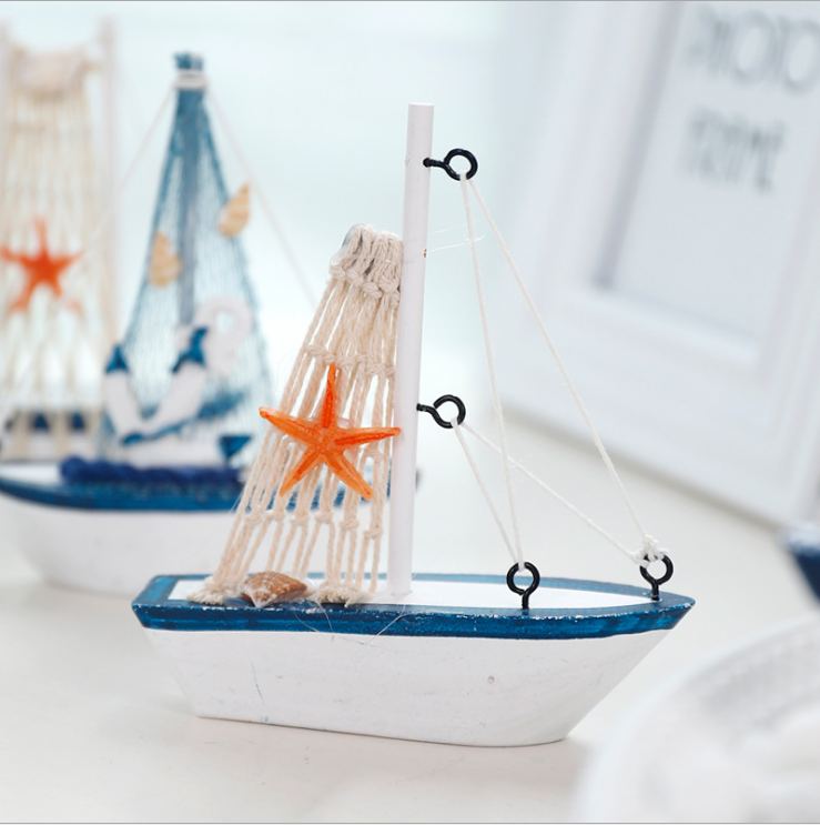 Wooden Sailing Boat Mediterranean Style Decorations Creative Ins Shooting Sailing Model Crafts Small Ornaments Home Decorations in Figurines Miniatures from Home Garden