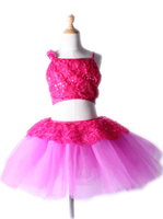 The new children's female two piece midriff ballet dress long acrobatics show stage dance ballet dress for girls