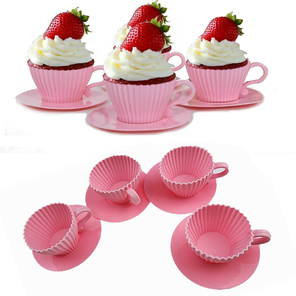 4 Pack Handy Helpers Teacup Shape Muffin Cake Molds