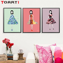 Fashion Clothes Girls Abstract Decorative Painting Watercolor Girl Dress Wall Creative Art Picture For Bedroom No Frame