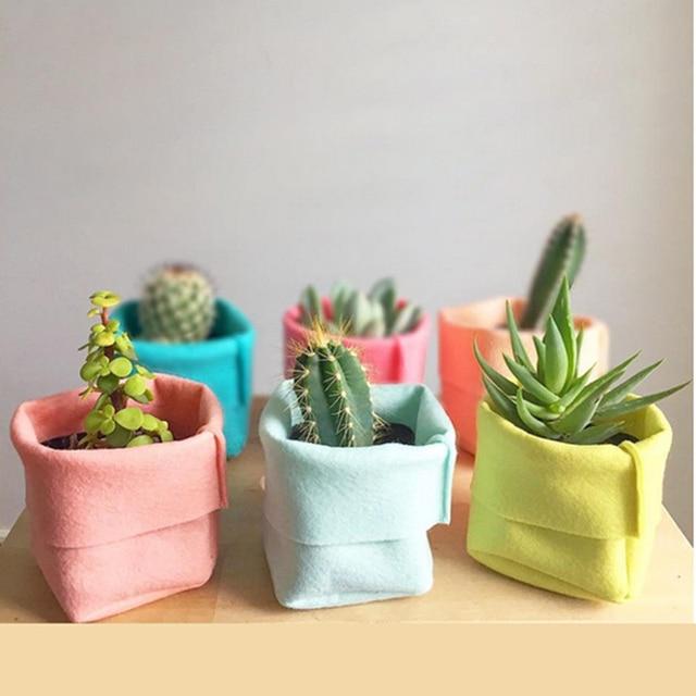 Portable 8 Colors Multi Function Felt Home Office Desk Storage Box Small Plants Decorative