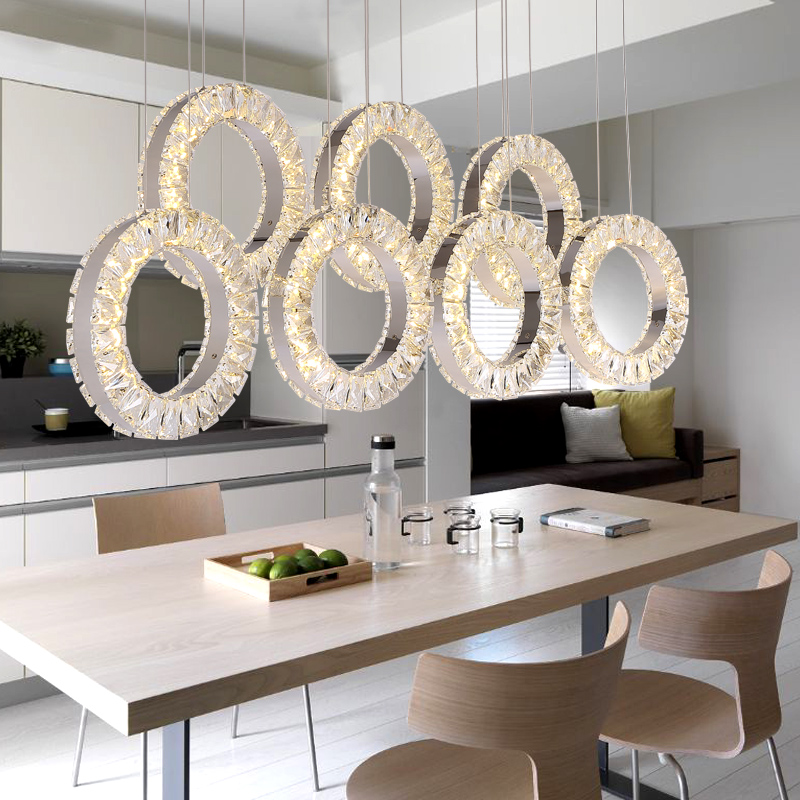 Restaurant Crystal Chandelier Table Three Rectangular Simple Modern Dining Room Fashion Bar LED Lighting Lamps In Ceiling Lights From