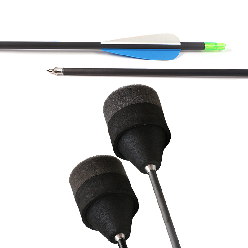 Здесь можно купить  Free shipping 12 pieces arrows pure carbon arrows shaft with foam tips suitable for archery game  Спорт и развлечения