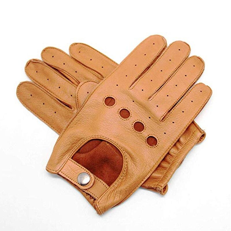 Nouveaux hommes gants en peau de daim moufle complète conduite Fitness moto cyclisme gants en cuir sans doublure