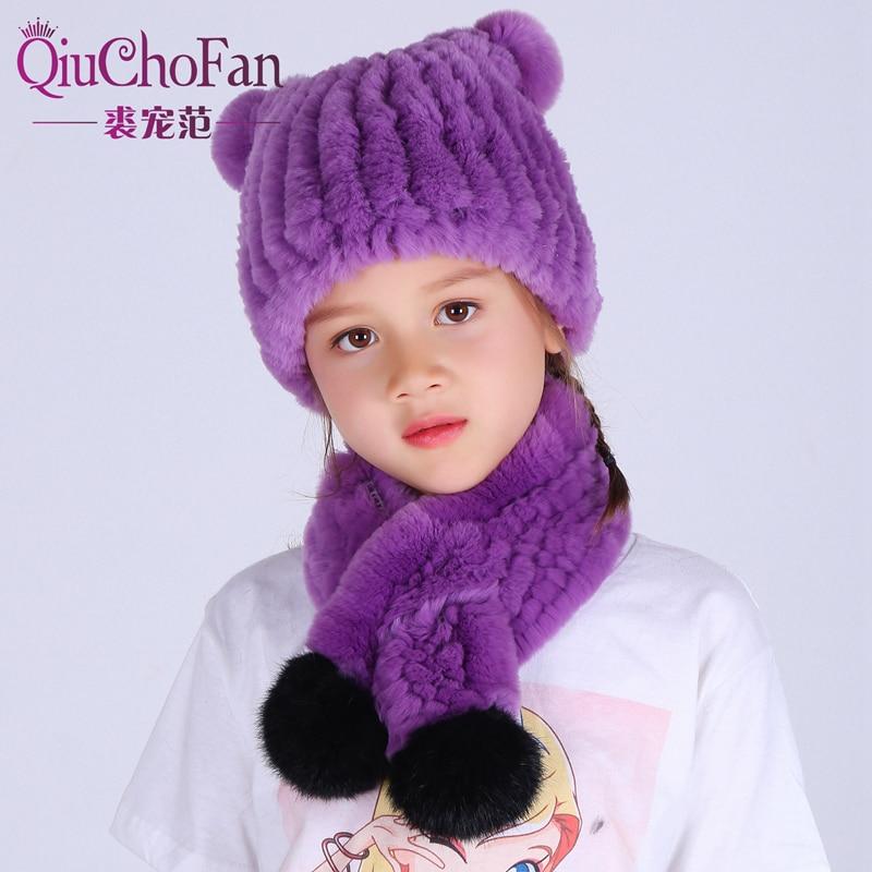 1-10 Year Old Girl Fur Hat For Winter Natural Rex Rabbit Fur Cap Children`S Fur Scarf Hat Two-Piece Warm Beanies Cap Scarf