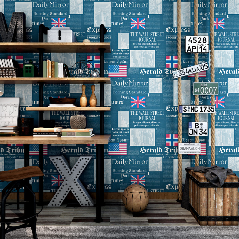 Vintage fashion shop decoration barber study old newspaper wallpaper personality English letter flag wall mural household