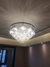 FUMAT K9 Crystal Chandelier crystal color in clear +metal color in silver size dia 80cm height 50cm Iron chain height 50cm(China)