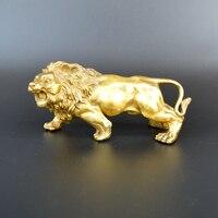 Sculpture&Carving Lions Bronze gold Fierce Wild Animals Figure Lions Statue