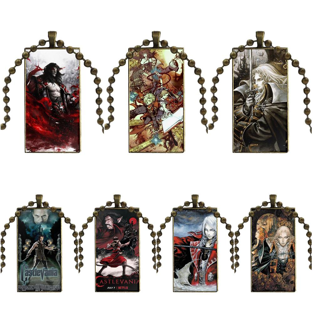 Fashion Glass Cabochon Pendant Rectangle Necklace Choker Necklace Jewelry For Wedding Anime Tv Show Series Castlevania image