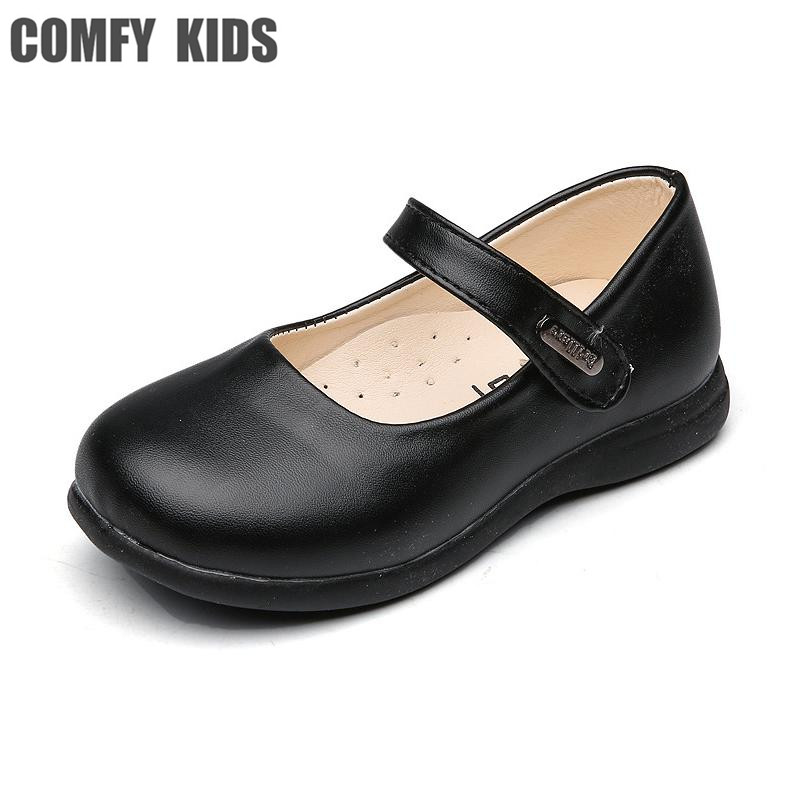 Comfy kids 2018 new arrivals child girls leather shoes fashion soft bottom size 22-35 girls flat with shoes for child shoes
