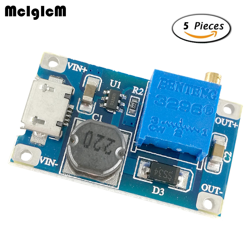 MCIGICM 5pcs dc-dc step up buck 2A boost module LM2577 DC-DC boost module wide input voltage 2 / 24V liter 5/9/12 / 28V
