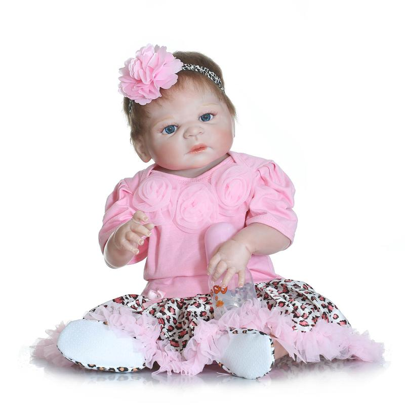 Girl Baby Toys Soft 22inch Full Silicone Reborn Baby Dolls 55cm Silicone BeBe Reborn Lifelike Babies Toys Newborn  HOT