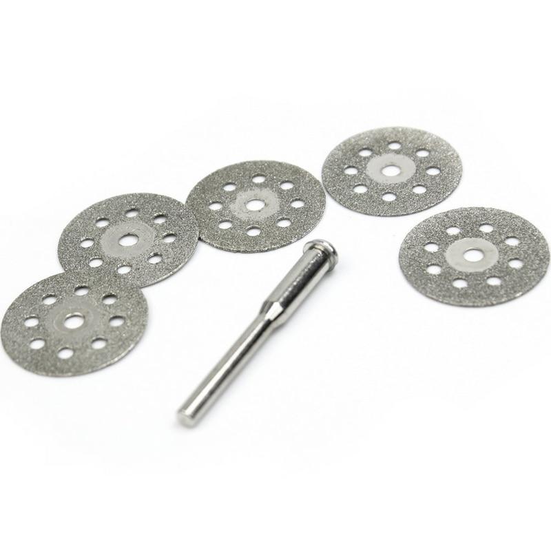 5 PCS  Mini 22mm Discos Corte Diamante Rotatorio + 1 Mandril Para Dremel CLH@8