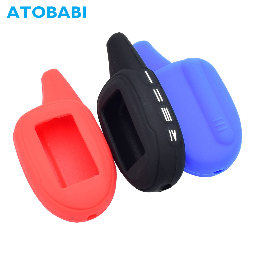 ATOBABI Silicone Key Case LCD Remote Cover For Scher-Khan Magicar 7 8 9 11 12 M101AS 2 Way Car Burglar Alarm System Transmitter