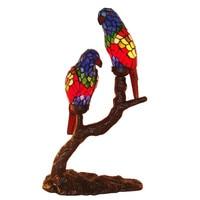 Nordic tiffanylamp пятнистости Стекло птица настольные лампы для взрослых Офис декоративные, светодиодный лампа ночник Гостиная Освещение