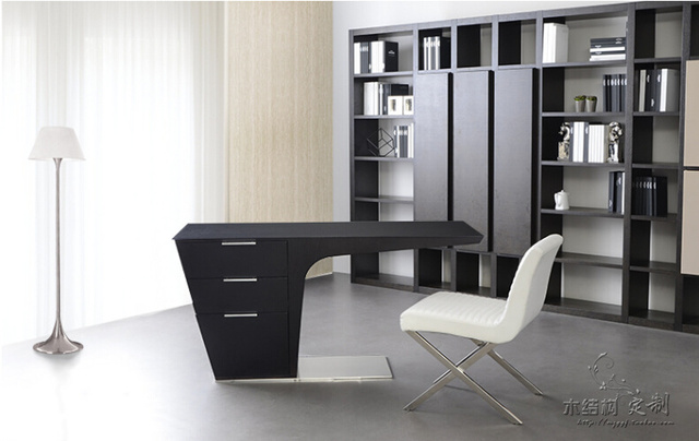 Elegant L Shape Leather Modern Executive Desk Office Table Design
