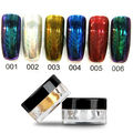 6 Colors 2g/Box Nail Glitter Powder Shinning Mirror Eye Shadow Makeup Powder Dust Nail Art DIY Chrome Pigment Glitters