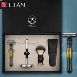 Классическая Безопасная бритва Titan, безопасная бритва с двойными краями, набор бритв с металлической ручкой, бритвенный набор, бесплатная д...