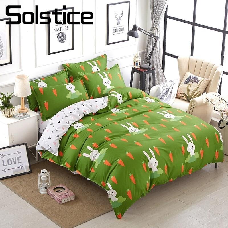 Solstice Home Textile Green Bedding Set Kid Teen Carrot Rabbit Duvet Quilt Cover Pillowcase Bed Sheet King Queen Twin Full Linen