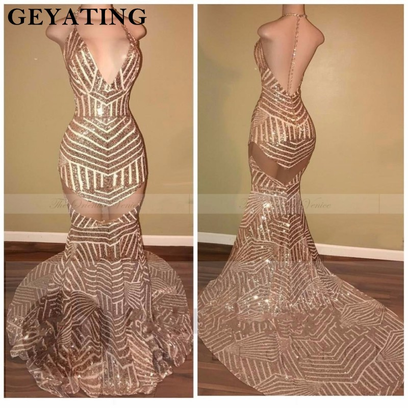 Rose Gold Sequined Mermaid   Prom     Dresses   2019 Sexy Deep V Neck Backless Evening   Dress   Long Train Party Gowns For Black Girls
