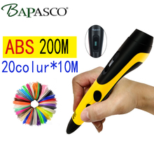 BAPASCO Newest 3D scribble pen,allows kids to bring any, ideas to life in 3d,with ABS filament(20color*10meter) , LED screen,