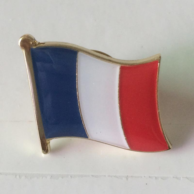 France Country Pin/Single Pin 16mm wide iron with brass plating&epoxy surface 1pcs butterfly button on back Customized MOQ 50pcs