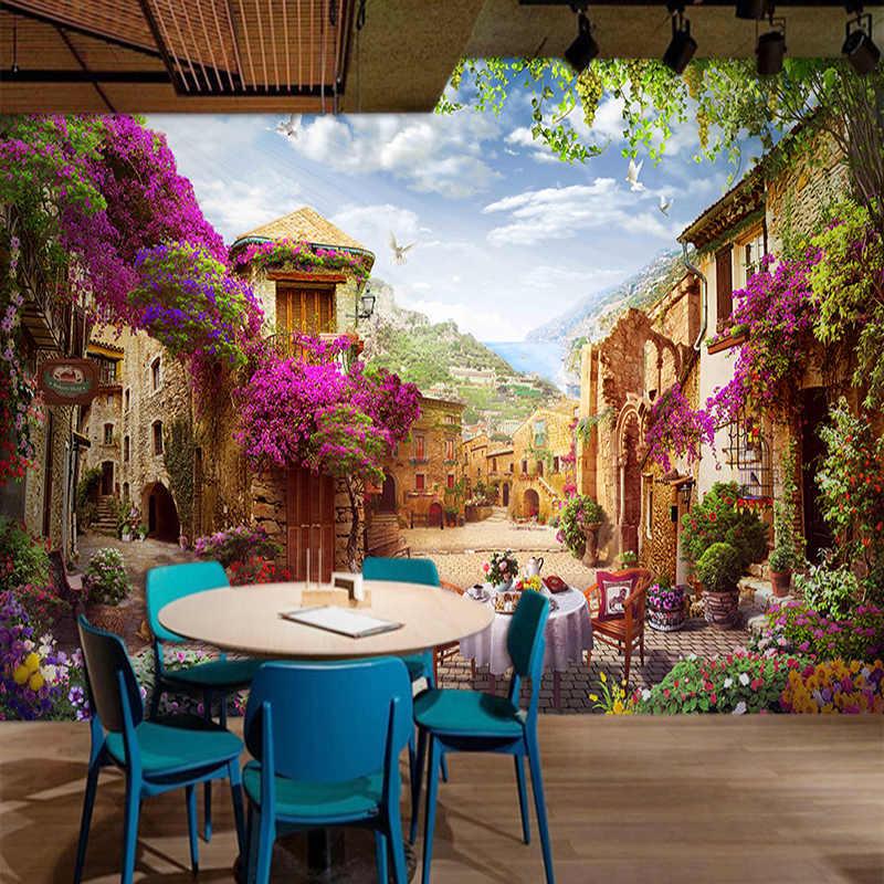 Пользовательские 3D Настенные обои европейский город пасторальный городской пейзаж природа фото настенные фрески кафе ресторан фон обои 3 D