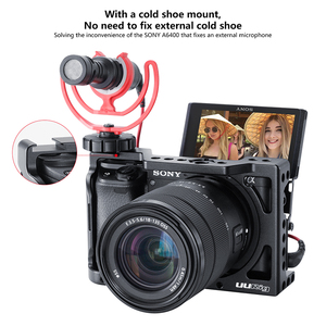 Image 2 - قفص مبيت من UURig لمنصة الفيديو SONY A6400 مع جهاز ضبط الفيديو بميكروفون حذاء بارد 1/4 3/8 فتحة برغي