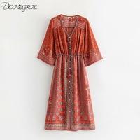 2019 summer new European and American women's fashion fashion wild brick red positioning Bohemian dress long dress