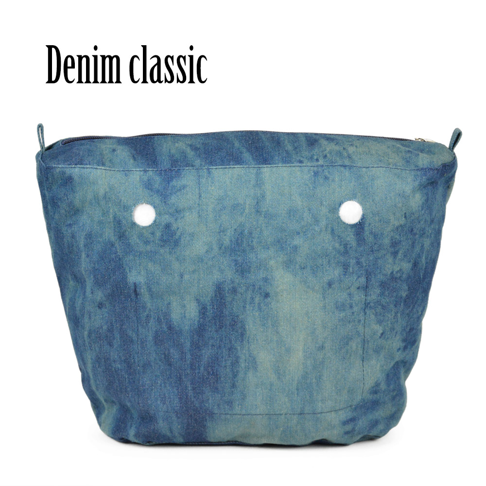 1 Pair Obag long denim Fabric Soft Handles waterproof Denim insert lining Classic O Bag Women's Bags Handbag - small cute store