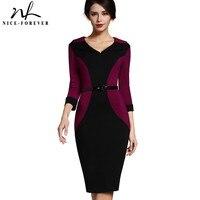 Nice Forever Patchwork Vintage Elegant V Neck Office Dress Bodycon Turn Down Sleeve Work With Belt