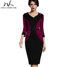 Хороший-навсегда лоскутное Винтаж элегантный v-образным вырезом деловая модельная одежда Bodycon отложным рукавом Работа с поясом Для женщин футляр B354