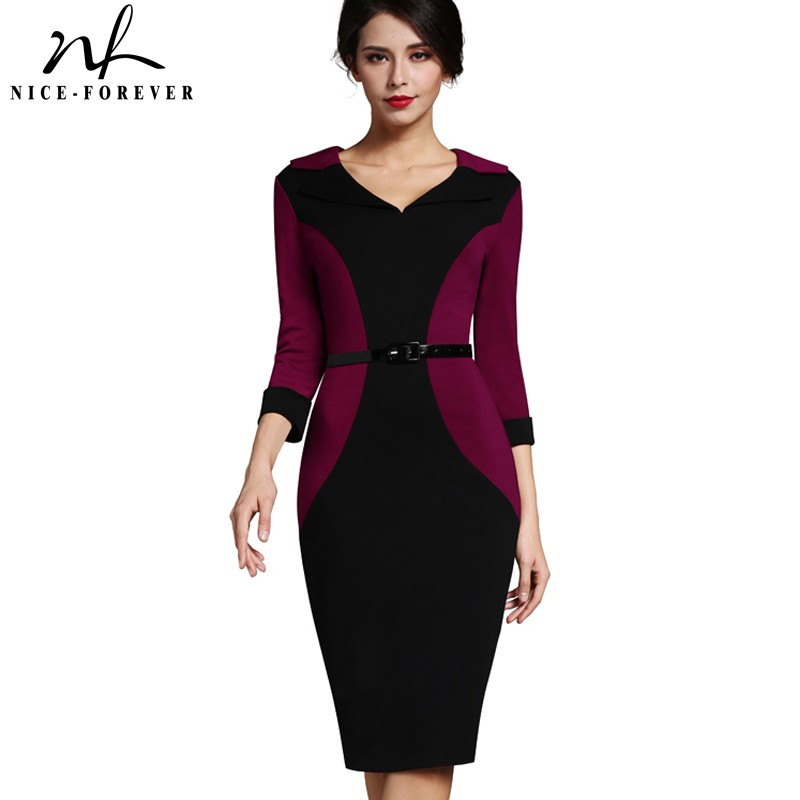 Nice-forever Patchwork Vintage Elegant V-Neck Office Dress Bodycon Turn-down Sleeve Work With Belt Women Pencil Dress B354