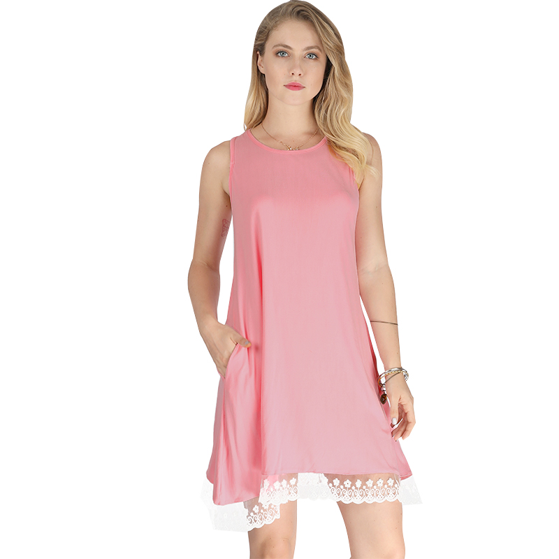 Fashion Women Solid Mini Dress Patchwork Floral Lace Hemline Round Neck Sleeveless Side Pockets A-Line Summer Dress Faldas Saia