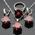 Made in China  Silver Color Jewelry Sets For Women Christmas Gift Imitated Red Garnet Earrings/Pendant/Necklace/Rings Free Box