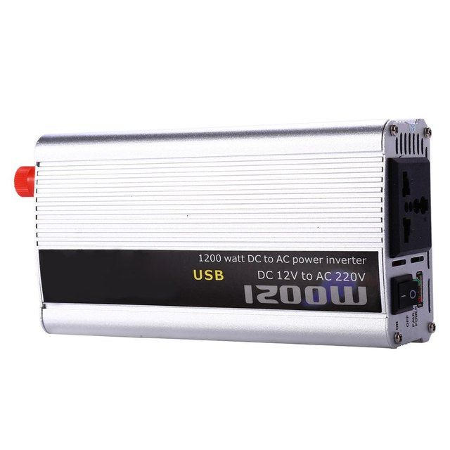 Auto Power Supply Switch On Board Charger Car Inverter 1500W DC 12V AC 220V Vehicle High Converting Efficiency Safely Shuts Down