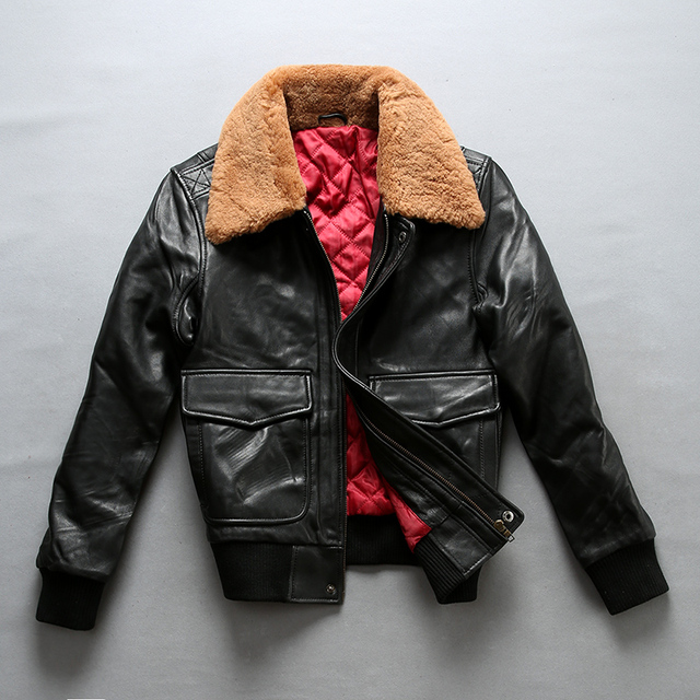 4f9530a9d66 US $188.0 |Avirex fly air force flight jacket fur collar genuine leather  jacket woman winter sheepskin coat pilot bomber jacket-in Leather & Suede  ...