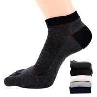 Man Casual Toe Socks Breathable Sweat Absorb Men Short Tube Socks Comfortbale Deodorant Man's Socks Cotton 3pairs/Lot