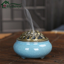 Celadon Incense Burner Copper Cover Ceramic Buddha With Alloy Lining Sandalwood