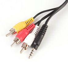 3.5mm Jack Plugue Macho para 3 RCA Adaptador Conectores 3.5 para RCA Macho Audio Video AV Cable Cord 1.5 M(China)