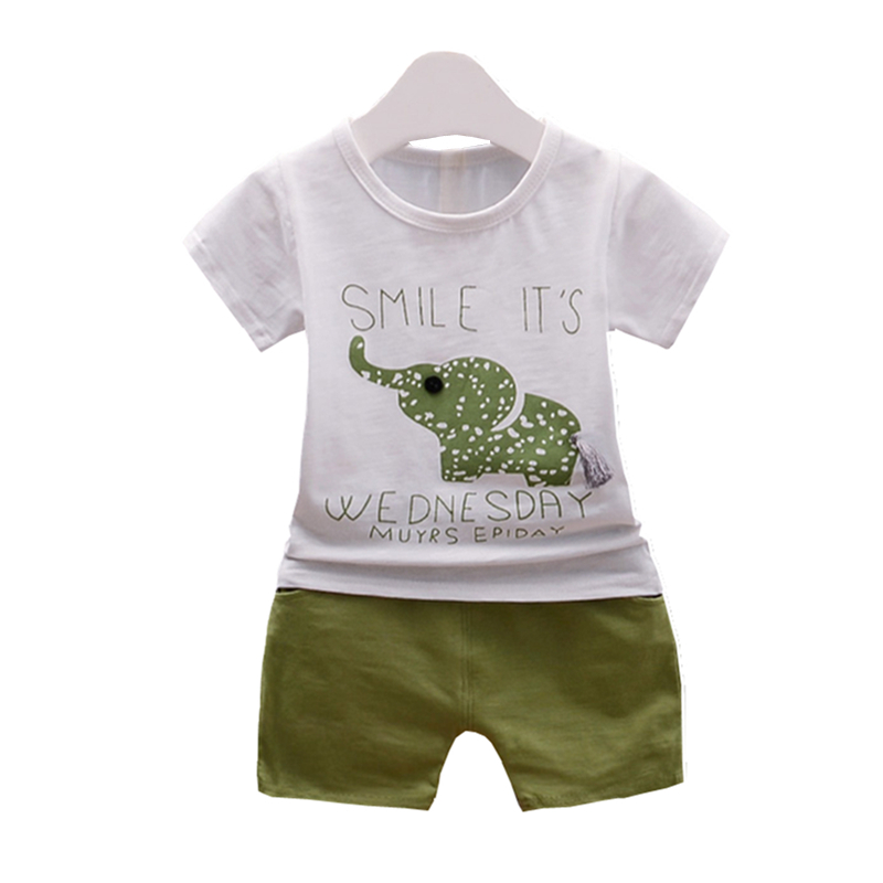 Chldren Boy Girl Fashion Clothes Baby T-shirt Short Pants 2Pcs/Sets Summer Infants Cartoon Elephant Tracksuit Kids Clothing Sets