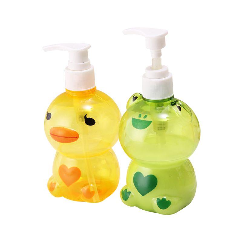 250ml Portable Soap Dispenser Child Cute Animal Frog/Duck Shape Press Type Split Empty Pump Bottle Shampoo Shower Container