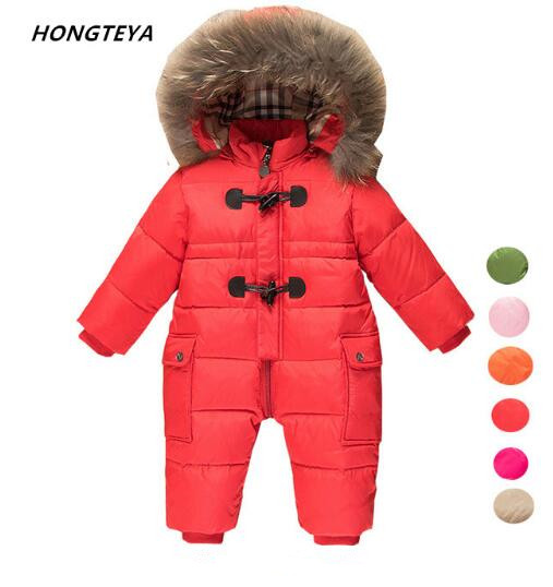 2018 Winter little Kids Romper Clothes Baby Girls and Boys SnowSuit toddler Outwear Duck Down Waterproof Boy Girl Jumpsuit puseky 2017 infant romper baby boys girls jumpsuit newborn bebe clothing hooded toddler baby clothes cute panda romper costumes