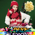 2017 Venda Hot Sale Mulheres Glovin Natal Além de Veludo Inverno Quentes malha Luvas Chapéu Cachecol de Três Peças Conjunto de Uma Peça feminino
