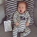 Traviesas de bebé Infantil Del Mameluco Del Mono Lindo de Manga Larga A Rayas de Algodón Recién Nacido Ropa de Bebé Unisex Hola Mamelucos del Héroe