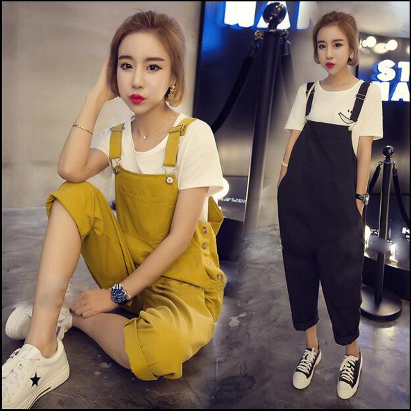 Maternity spring summer suspender trousers Pregnant women overall fashion wide-legged plus size loose bib pants L-4XL 4 legged