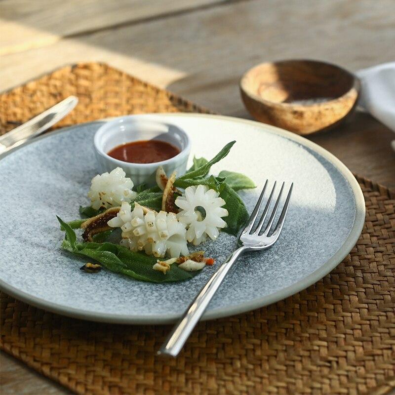 NIMITIME European Style Dinner plate Home Breakfast Net Red Tableware Ceramic Steak Flat Plate Dish